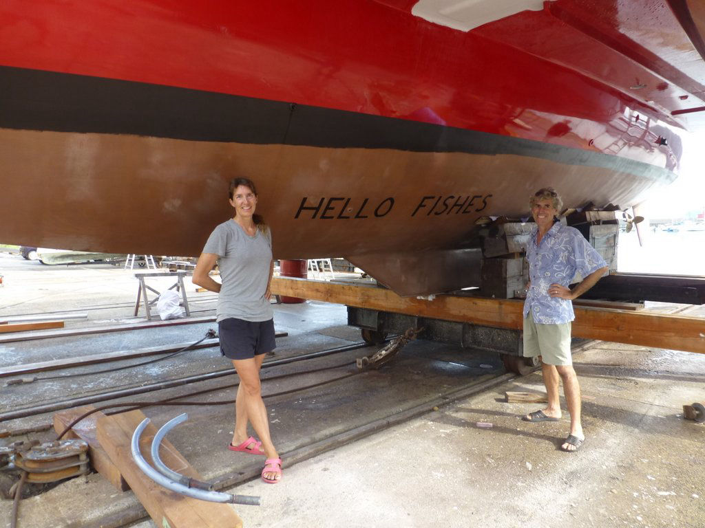 Bruce and Alene standing by the finished hull